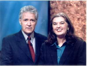 Laura Sturaitis, Jeopardy champ, with Alex Trebek in 2002