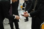 Exchanging business cards