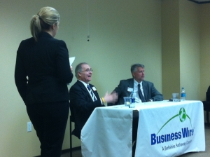 Richard Stubbe of Bloomberg News and Greg Barr of the Houston Business Journal answer questions from the audience