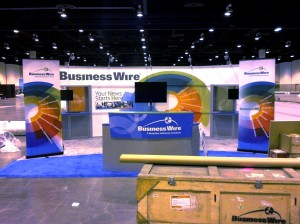 Business Wire booth on the show floor at the 2013 Berkshire Hathaway Shareholders Meeting