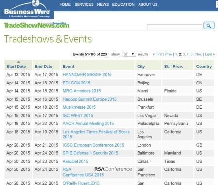 TradeShow Calendar 2